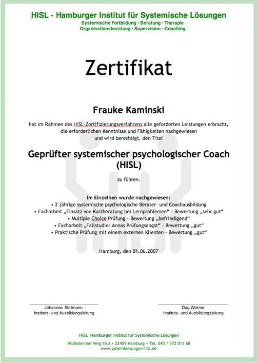 Zertifikat systemischer psychologischer Coach