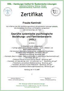Zertifikat Systemischer psychologischer Beziehungsberater