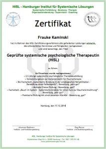Zertifikat Systemischer Pschologischer Therapeut